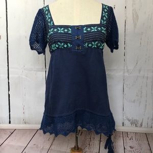 FREE PEOPLE blue crocheted embroidered tunic